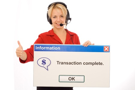 Smiling tele banking operator shows transaction success - isolated photo