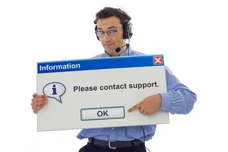 prompt: Friendly IT support staff member with computer message box pointing the customer in the right direction - isolated