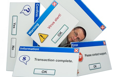 Man covered by computer message boxes - information technology - tech concept - isolated Stock Photo
