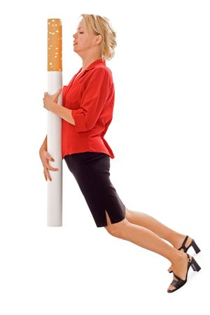heavy risk: Woman carrying giant cigarette - funny illustration of heavy smoking - and the burden on ones health - isolated