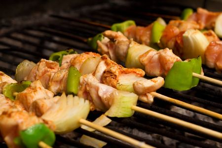 Chicken meat and vegetables on barbeque sticks - shallow depth of field Stock Photo - 1933574