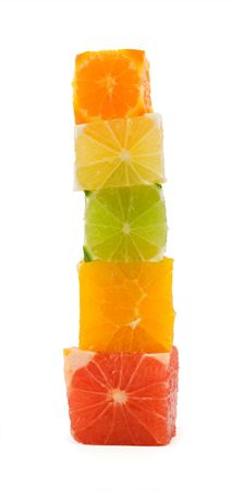 Building health - mixed citrus cubes tower - isolated photo