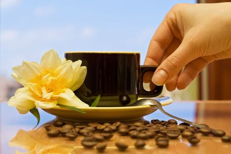 Woman hand with a coffee cup on a table, against the window in a beautiful morning photo