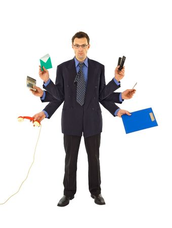 worked: Businessman or office employee doing too much work - isolated Stock Photo
