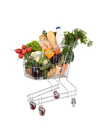 Healthy food - groceries in shopping cart - isolated Stock Photo