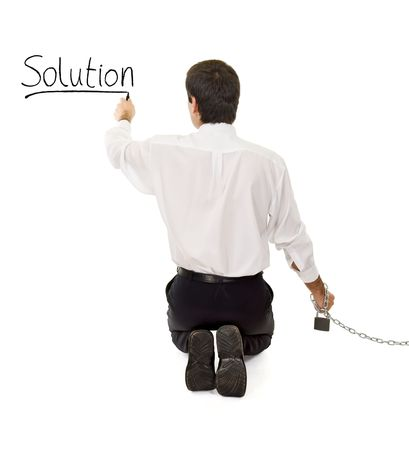 Businessman in trouble searching and finding a solution - isolated Stock Photo - 3922032