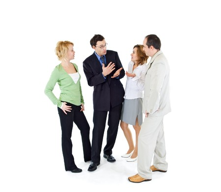 rumour: Office gossip people group of four - isolated