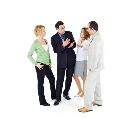 personas comunicandose: Oficina de chismes pueblo grupo de los cuatro - aislados