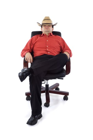 redneck: Redneck businessman in the office - isolated