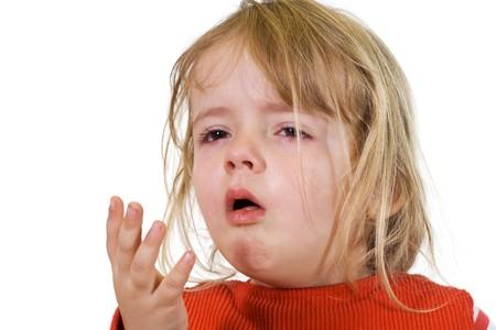 tosiendo: Ni�a con la gripe - aisladas Foto de archivo
