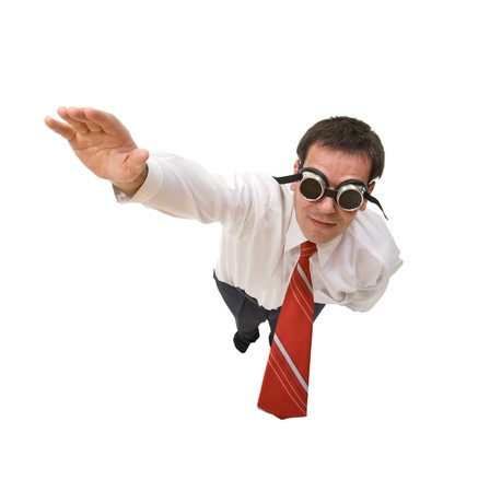 blinded: Businessman flying blind - isolated, perspective