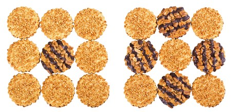 Peanut and chocolate chip cookies - isolated photo
