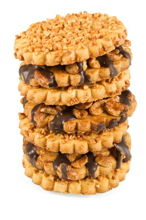 Peanut and chocolate cookies stacked in a tower - closeup photo