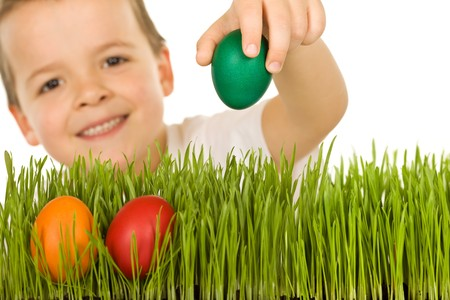 Happy boy with easter eggs behind fresh green grass - isolated photo