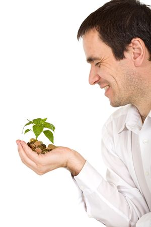 Businessman watching his investment growing - isolated photo