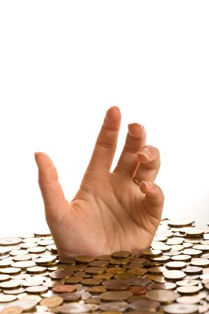 payout: Ahog�ndose en concepto de deuda - mujer hasta llegar a las manos por debajo de las monedas Foto de archivo