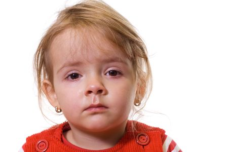ailment: Little girl with a severe flu and red eyes - isolated