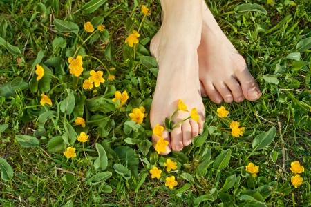 wildblumen: Frau Ruhe ihre F��e an der frischen Vegetation Fr�hjahr unter Sonnenschein Lizenzfreie Bilder