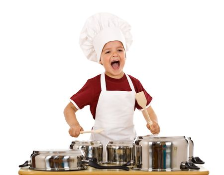 playing with spoon: Happy chef shouting and banging the cooking pots with wooden spoons - isolated Stock Photo