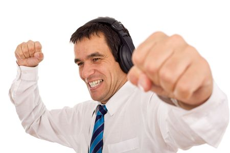 Businessman releasing stress listening to music and gesturing - isolated photo