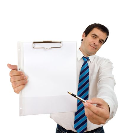 Businessman with notepad and pen showing you where to sign - isolated Stock Photo - 5944864
