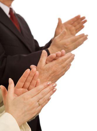 manos aplaudiendo: Valores empresariales - respetar y recompensar el concepto de rendimiento con palmas de las manos sobre blanco