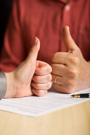 Business values series - everybody wins concept with two hands showing thumbs up photo