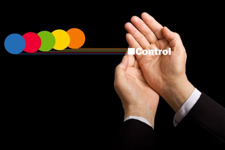 centralize: Business values - resource awareness and cost control concept with hands collecting data