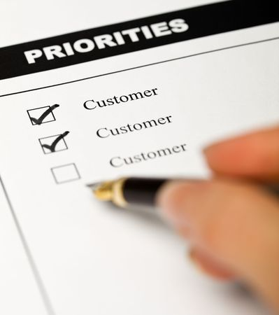 business ethics: Business values - customer oriented business concept with employee survey form Stock Photo