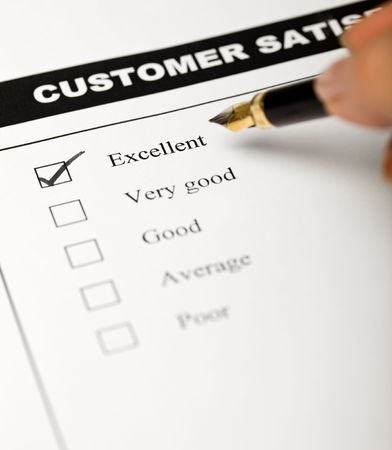 Business values - satisfied customers concept with a survey form Stock Photo