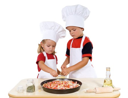 cheese pizza: Kids preparing a surprise meal for their parents - isolated Stock Photo