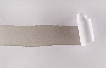 White paper torn revealing a strip of gray cardboard layer photo