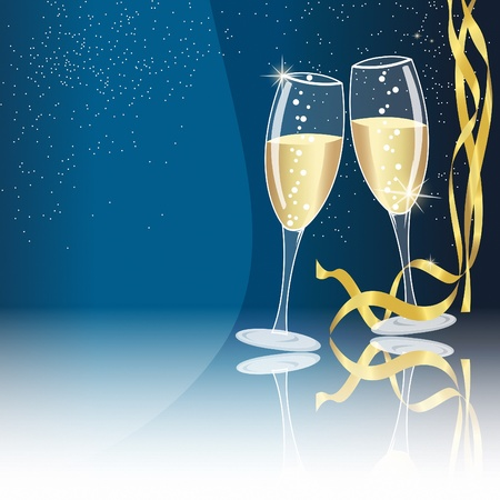 champagne glasses: Champagne glasses on blue background with some golden ribbons - new year concept