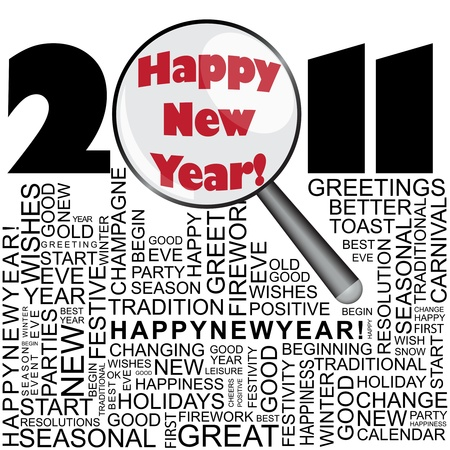 Happy new year 2011 concept with word collage and magnifier Stock Vector - 8524949