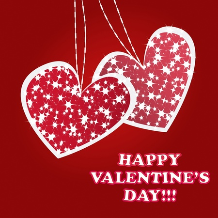 Twinkling and sparkling valentines hearts greeting card on red background Vector