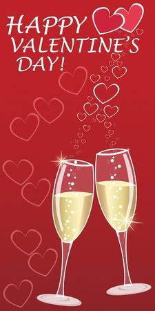 bollicine champagne: Auguri di San Valentino con champagne e cuore bubbles - banner verticale