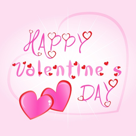 two hearts together: Happy Valentines day greeting card illustration with hearts and blooming pink text Illustration