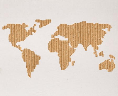 corrugated cardboard: Global shipping or transportation concept with cardboard world map