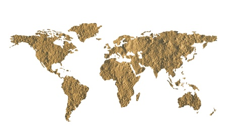 barrenness: World map made of fine grained dry mud - ecology concept Stock Photo