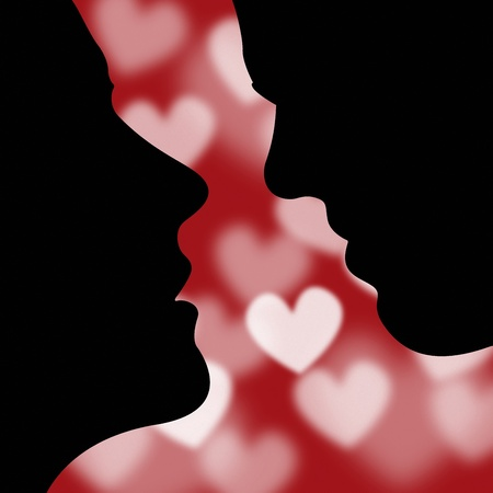 the intimacy: Valentines day greeting card or background with couple face silhouette Illustration