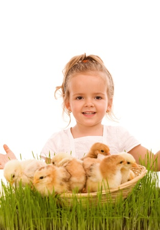 basketful: Happy spring girl with a basketful of little easter chicks in the grass - isolated