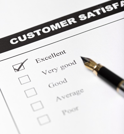 Customer satisfaction survey form with pen - closeup with focus on the checked excellent checkbox Stock Photo - 9054601