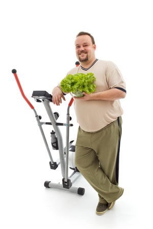 Power plan for fittness - overweight man's healthy choices, exercise and fresh food - isolated Stock Photo - 9054656