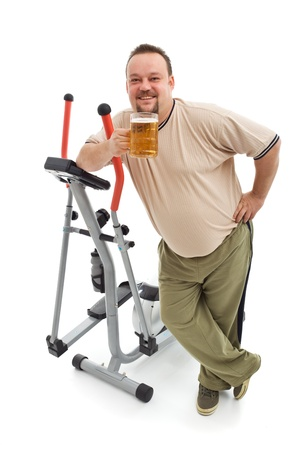 Overweight man having a beer after working out - isolated with a bit of shadow Stock Photo - 9061504
