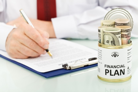 Concept of american businessman making financial plans Stock Photo - 9200388