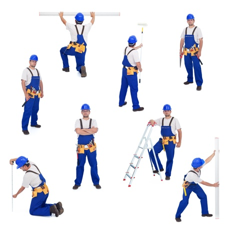 işçi: Handyman or worker in different working positions - isolated, collage