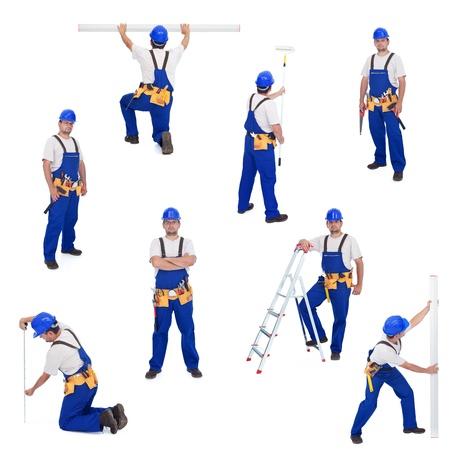 constructor: Manitas o trabajador en diferentes puestos de trabajo - aislado, collage