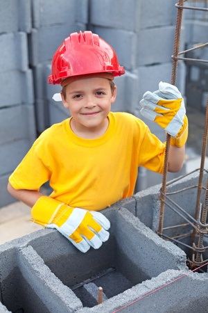 vocational: Vocational guidance - boy at construction site learning