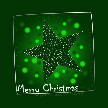 peaceful background: Christmas postcard illustration with a twinkling green star