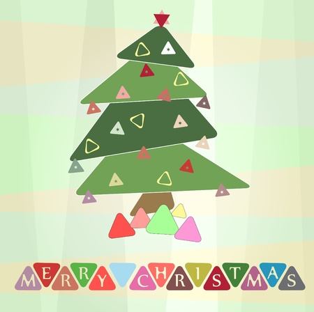 Retro christmas postcard illustration with triangle shapes Vector